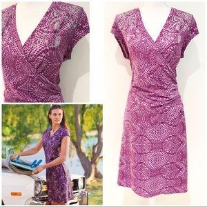 EUC Athleta Nectar Floral Purple Faux Wrap Dress